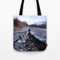 silent hill Tote Bags featuring Trial Through Silent Hill by Julie Maxwell