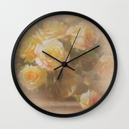 Vicorian Roses Neck Gator White Roses Wall Clock