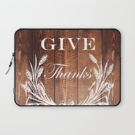 rustic western country barn wood farmhouse wheat wreath give thanks Laptop Sleeve