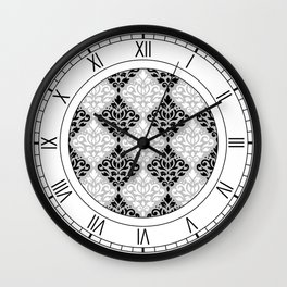 Scroll Damask Pattern BWG Wall Clock