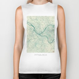 Pittsburgh Map Blue Vintage Biker Tank
