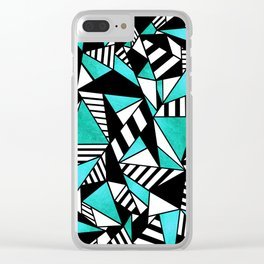 Geometric Teal(ish) Clear iPhone Case