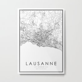 Lausanne City Map Switzerland White and Black Metal Print