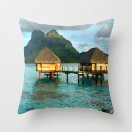 Bora Bora Tahiti Bungalow Throw Pillow