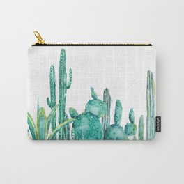 green cactus jungle watercolor Carry-All Pouch