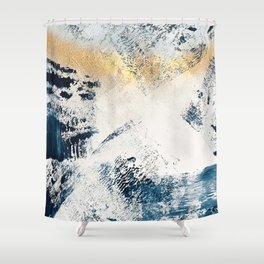 Sunset [1]: a bright, colorful abstract piece in blue, gold, and white by Alyssa Hamilton Art Shower Curtain