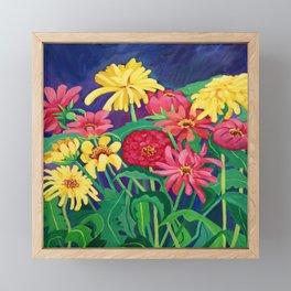 Zinnias Framed Mini Art Print