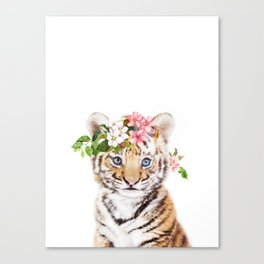 Tiger Cub with Flower Crown Canvas Print