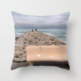 the storm moves away (Sitges) Throw Pillow