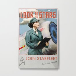 'Look to the stars' Vintage Retro Starfleet Recruitment poster Metal Print