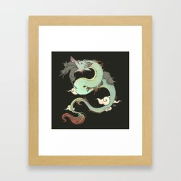 Chinese Dragon With Wolf Head And Black Cats Surreal Artwork Framed Art Print