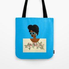 Postcard Woman Blue Tote Bag