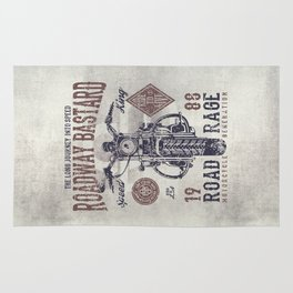 Vintage Motorcycle Poster Style Rug