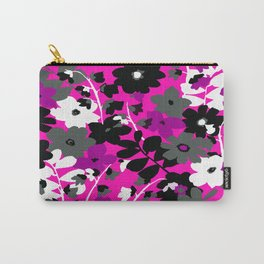 SUNFLOWER TOILE PINK BLACK GRAY WHITE PATTERN Carry-All Pouch