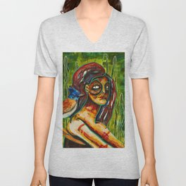 Goddess of Jungle Watercolor painting Unisex V-Neck