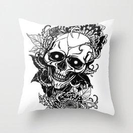 Skull wreath, custom gift design Throw Pillow
