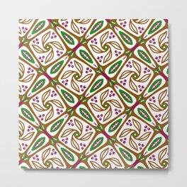 Retro Nature Leaf Geometric - Brown Green Geo 1 Metal Print