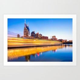 Lights on the Cumberland River - Nashville Tennessee Skyline Art Print