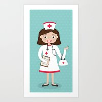 nurse Art Prints featuring Nurse by Manuela Rocha
