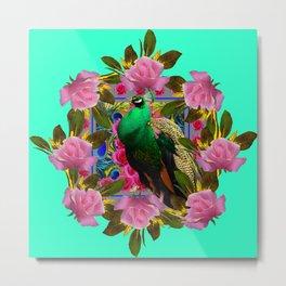 GREEN PEACOCK &  PINK ROSE GARDEN TURQUOISE ART Metal Print