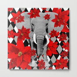 POINSETTIAS ELEPHANTS AND HARLEQUINS OH MY Metal Print