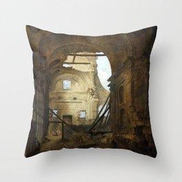 Hubert Robert - Church of the Sorbonne in Ruins Throw Pillow