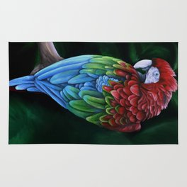 Green and Red Macaw Rug