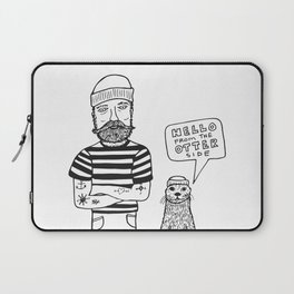 Hello From the Otter Side - Black & White Laptop Sleeve