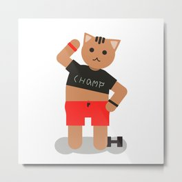 Cat champ doing sport Metal Print