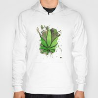 weed Hoodies featuring Weed Leaf by Spooky Dooky