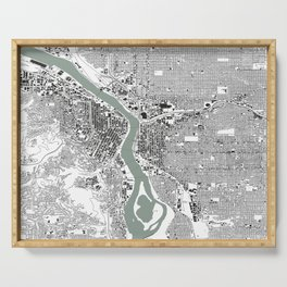 Portland, OR City Map Black/White Serving Tray