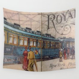 Vintage 1898 Baltimore to Ohio Railroad Royal Blue Line  deluxe train service between New York-Philadelphia-Baltimore-Washington Advertising Poster Wall Tapestry