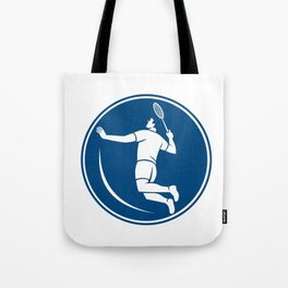 Badminton Player Jump Smash Circle Icon Tote Bag