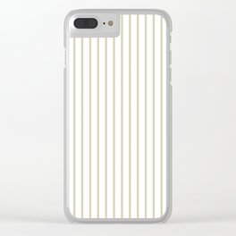 Spanish Moss Green Pinstripe on White Clear iPhone Case