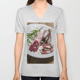 Italian salami on white background Unisex V-Neck