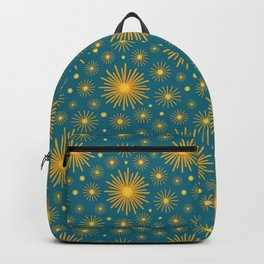 Abstract Hand-painted Golden Fireworks, Vintage Festive Pattern with Beautiful Acrylic Texture, Gold and Blue Teal Color Backpack