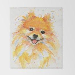 Happy Pomeranian Throw Blanket