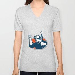 Coal Miner Holding Pen Mascot Unisex V-Neck