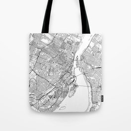 Montreal White Map Tote Bag