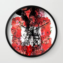 Floral Fashion Red Wall Clock
