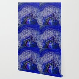 indigo agate with rose gold flower of life Wallpaper