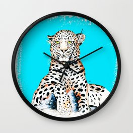 Leopard King Ink Blue Wall Clock
