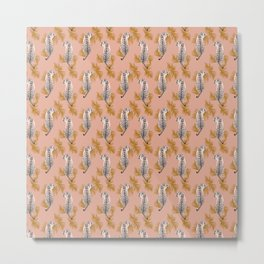 Paisley Tiger - soft pink & gold Metal Print