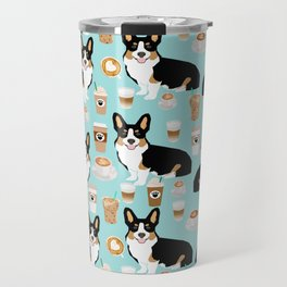 Welsh Corgi tri colored coffee lover dog gifts for corgis cafe latte pupuccino Travel Mug