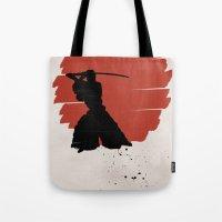 samurai Tote Bags featuring Samurai by Purple Cactus