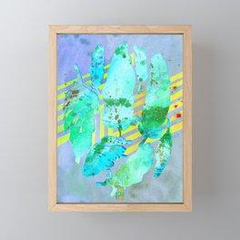 Boho Feather Zig Zag Collage | Watercolor Feather Art Print | Blue Aqua Yellow Art Print Framed Mini Art Print