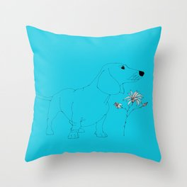 Blue Dachsund Love Throw Pillow