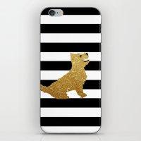 westie iPhone & iPod Skins featuring Highland Westie terrier dog in golden glitter by ialbert