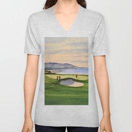 Pebble Beach Golf Course 9th Green Unisex V-Neck
