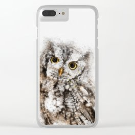 Baby Owl Watercolor Clear iPhone Case